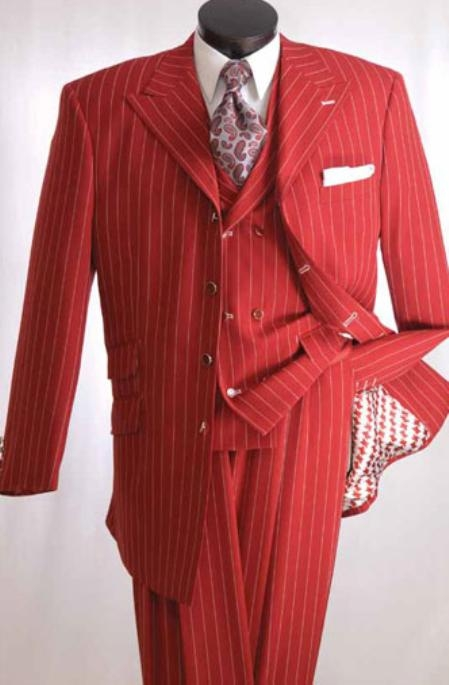 Sku Ak323 Men S High Fashion 3pc Red Suit 139