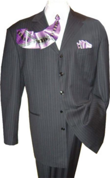 SKU# KP4 Mens High Fashion 5 Buttons Black Sahdow Stripe Dress Suit $149