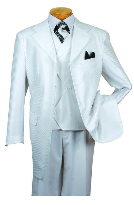 SKU#VO856 Mens High Fashion White 3-Piece Suit $139