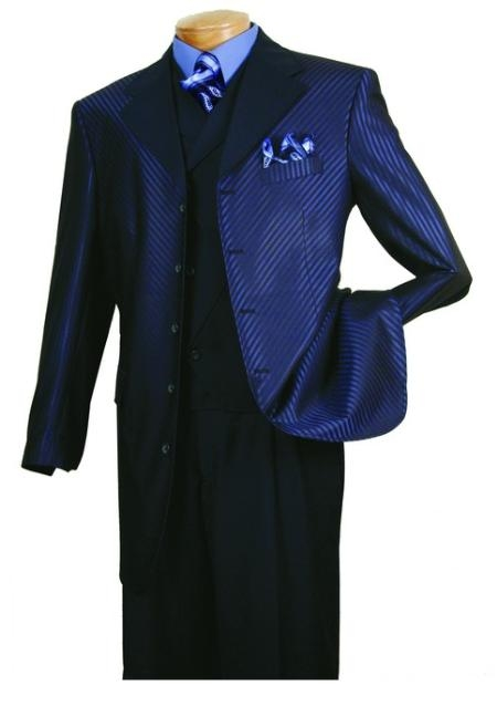 SKU#PH333 Mens High Fashion Navy 3-Piece Suit $139