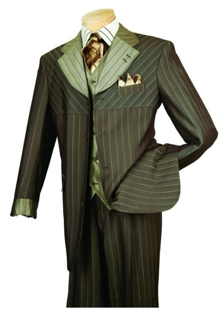 SKU#PE567 Mens High Fashion Dark Taupe 3-Piece Suit $139