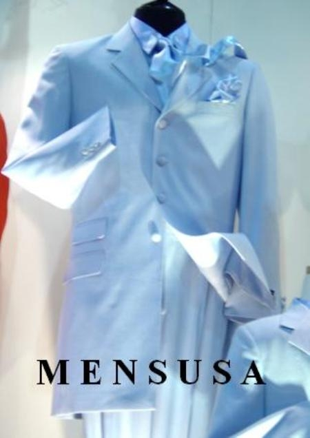 SKU# MFM342 Mens High Fashion Light Baby Blue Light Blue ~ Sky Blue Light Blue Long Zoot Suits  $185