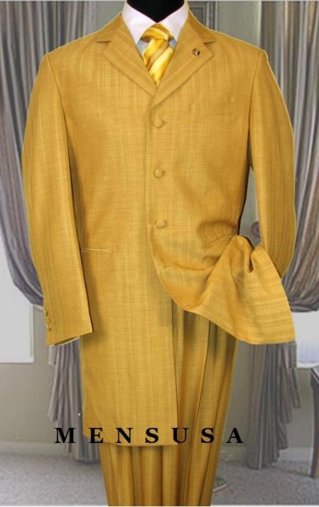 SKU#RF76 Mens High Fashion Metalic Festive Gold Long Zoot Suits Available inch 3 button style jacket 34 in jacket $195