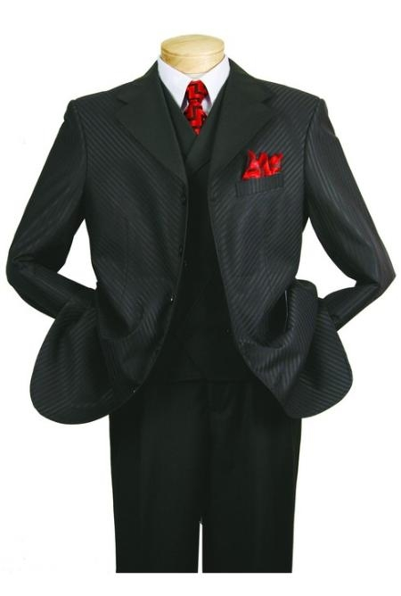 SKU#HA567 Mens High Fashion Black 3-Piece Suit $139