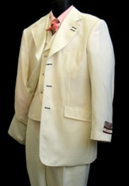 SKU#HJ919 Mens High Fashion Ivory Suit $169