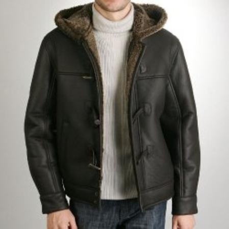 SKU#AI979 Mens Hooded Sheepskin Shearling Jacket $605