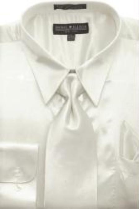 SKU#AG442 Mens Ivory Shiny Silky Satin Dress Shirt/Tie