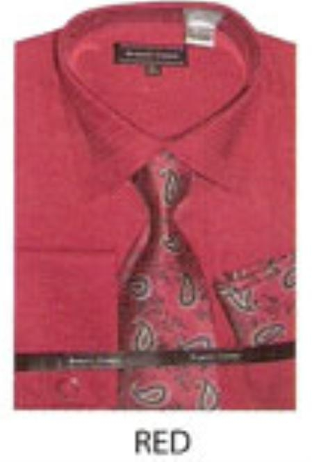 SKU#QV642 Mens JQD extended french cuff dress shirt Red $65