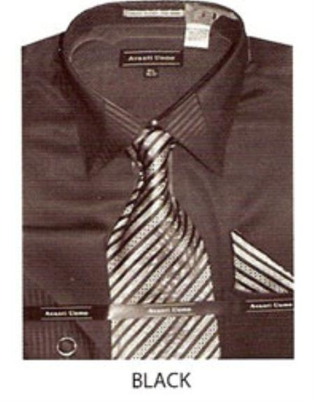 SKU#LZ321 Mens JQD french cuff dress shirt Black $45