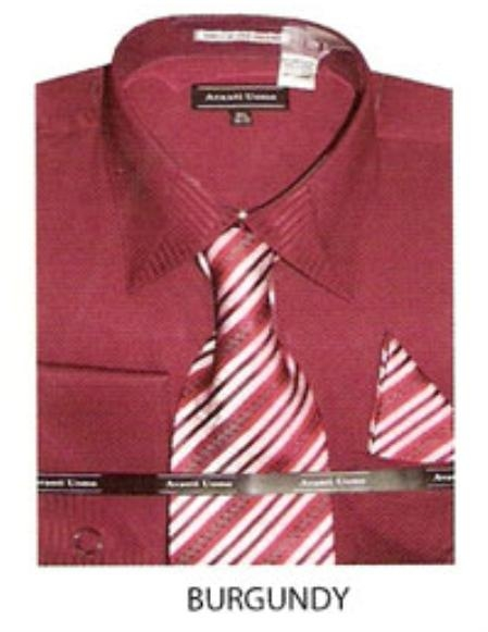 SKU#IL380 Mens JQD french cuff dress shirt Burgundy ~ Maroon ~ Wine Color $65
