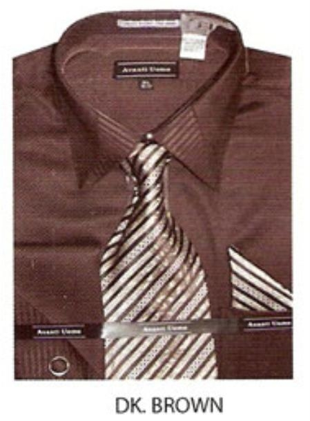 SKU#UQ890 Mens JQD french cuff dress shirt Dark Brown $65