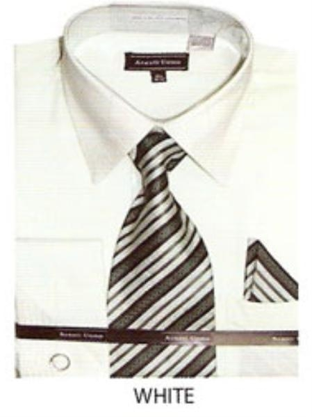 SKU#WK908 Mens JQD french cuff dress shirt White $65