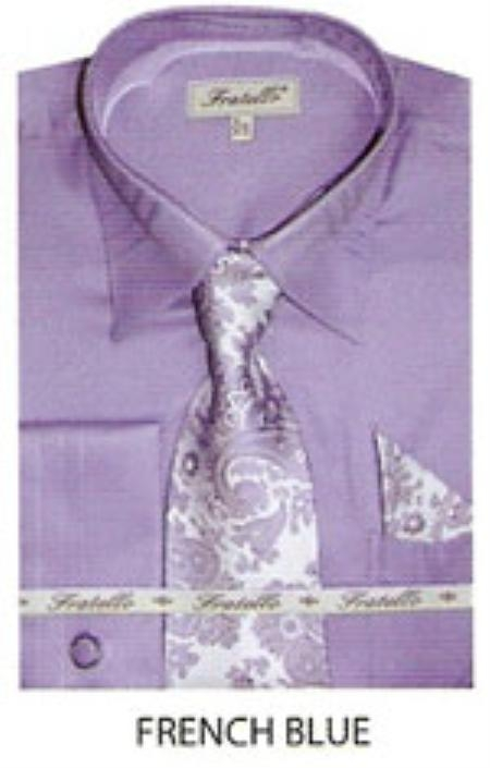 SKU#WM240 Mens JQD french cuff shirt French Blue $65