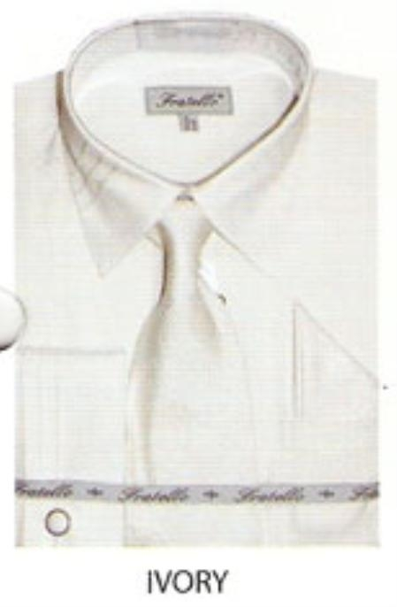 SKU#DM641 Mens JQD french cuff shirt Ivory $65