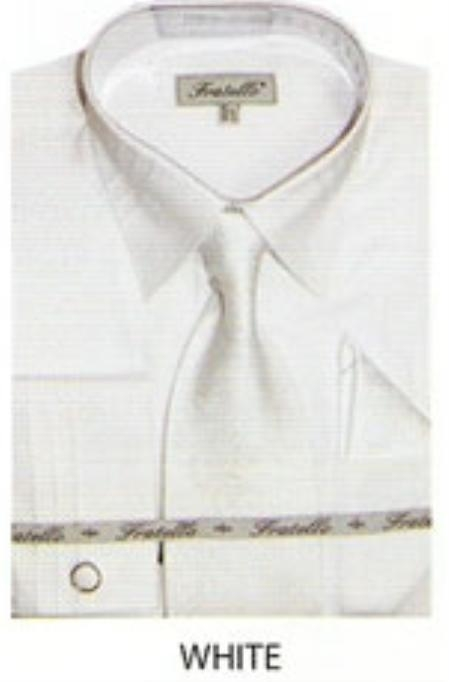 SKU#EN540 Mens JQD french cuff shirt White $65