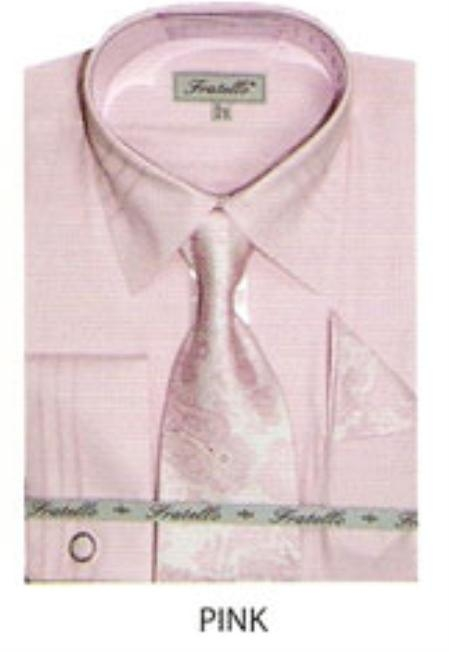 SKU#TY579 Mens JQD french cuff shirt Pink $65