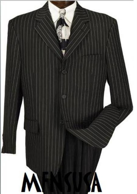 SKU# MU99 Men's Jet Black & White Pinstripe Suit 3 buttons Party Suits year-round weight
