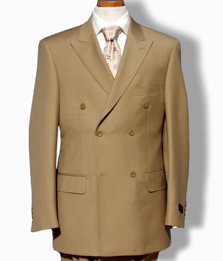 SKU#EMILC76  Mens Khaki Double Breasted Dress cheap discounted Suit $125
