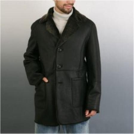 SKU#VI578 Mens Lamb Shearling Walking Coat $389