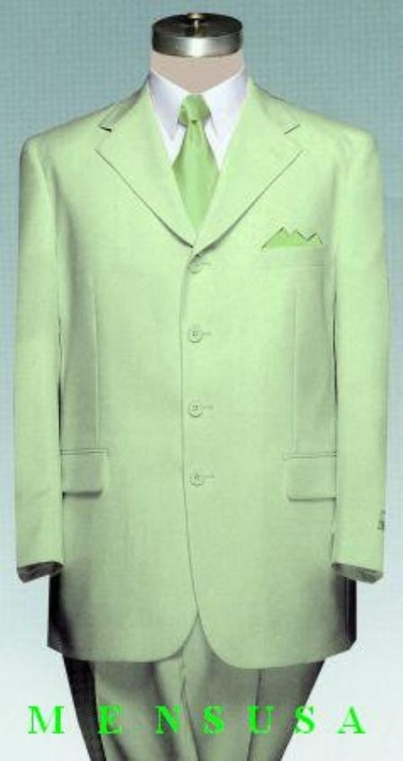 SKU#Eric_3P Mens Light Faded Mint Green Suit Poly Blend Light Weight All Year Round (Available in 3 Button Style Jacket + Pants)