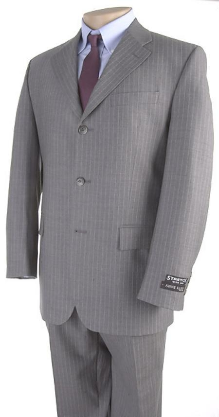SKU# 5802V3K Mens Light Gray Pinstripe 3 Buttons Dress Suit $139