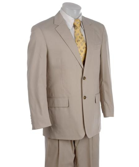 SKU# MK84 Mens Light Khaki~Tan~Sand 2 Button Super Wool Suit $179