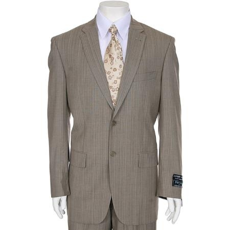 SKU#TP373 Mens Light Beige ~ Tan ~ Taupe Stripe ~ Pinstripe 2-Button Suit