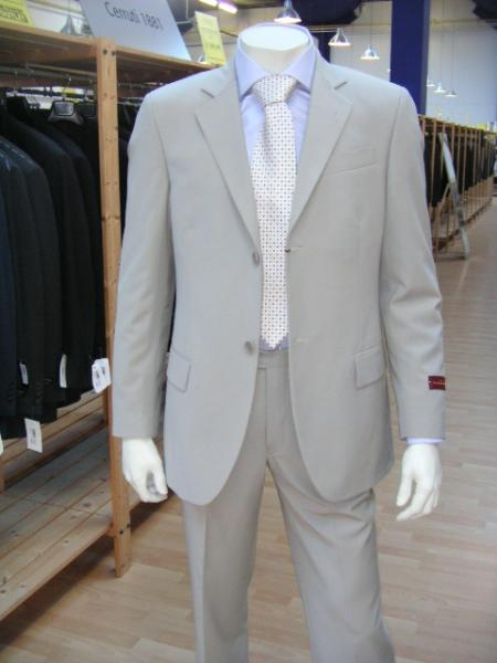 SKU# 24 Mens Lightest Tan ~ Beige 2 Button Super Wool Feel Rayon Viscose Dress Suit (Light Weight) $159