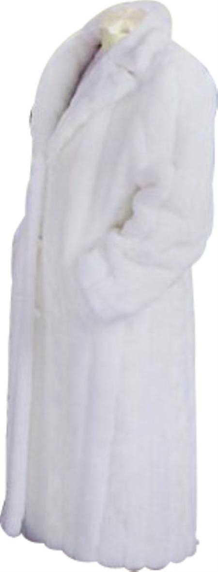 SKU#HF552 Mens Long Length Faux Fur Coat White
