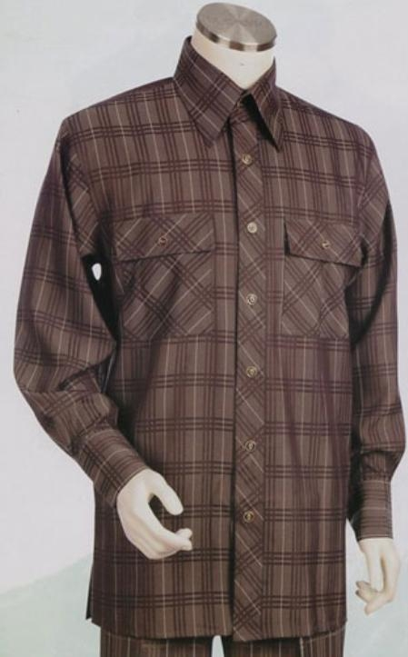 SKU#RV742 Mens Long Sleeve 2pc Set including Matching Wide Leg Dress Pants Brown Color $125