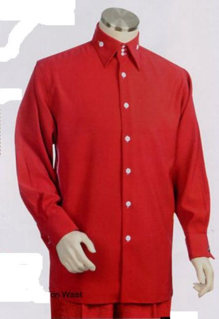 SKU#CV374 Mens Long Sleeve 2pc Set with French Cuff Shirt including Wide Leg Dress Pants  Red $125