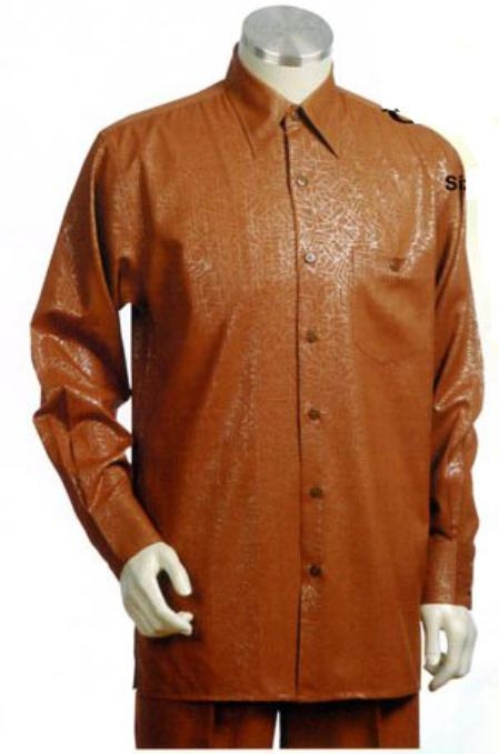 SKU#FJ532 Mens Long Sleeve 2pc Set with French Cuff Shirt including Wide Leg Dress Pants Rust $125