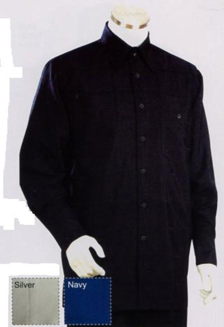 SKU#DB781 Mens Long Sleeve 2pc Set including Matching Wide Leg Dress Pants Black $125