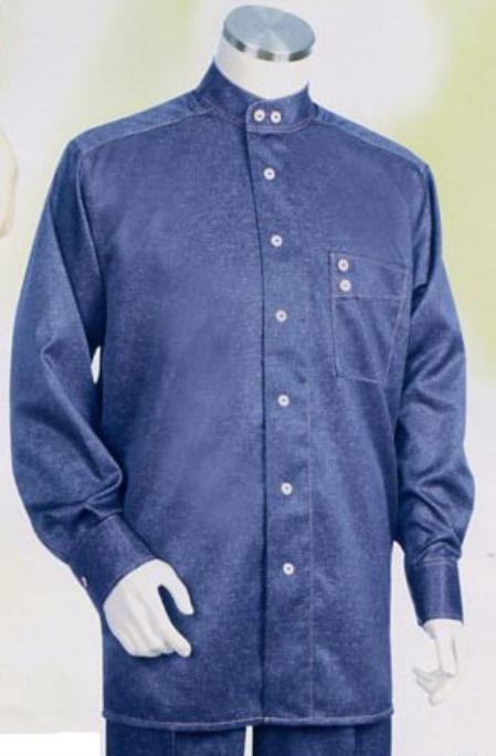 SKU#CX953 Mens Long Sleeve 2pc Set with Matching Pants Blue $89