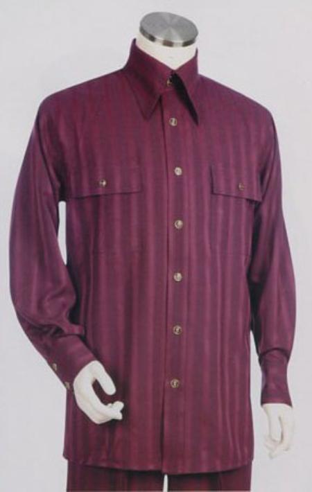 SKU#BS763 Mens Long Sleeve 2pc Set including Matching Wide Leg Dress Pants Wine Color $125