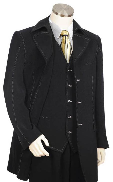 SKU#OC1299 Mens Long Zoot Suit in Black