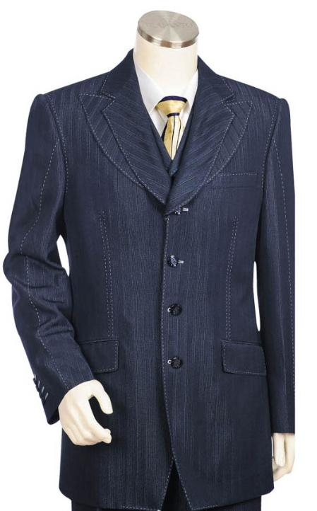 SKU#LK1542 Men's Long Zoot Suit in Blue