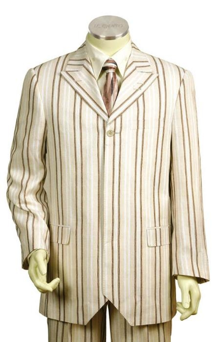 SKU#MS3512 Mens Long Zoot Suits in White Coffee $149