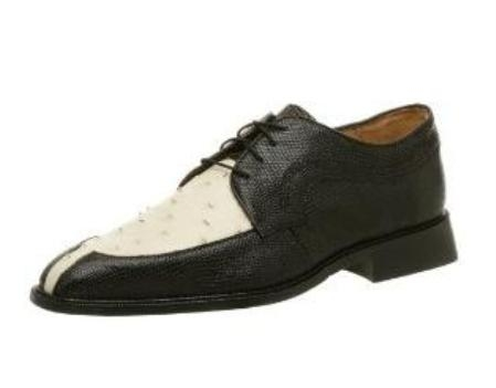 Belvedere Mens Luna Oxford Made of Lizard and Leather Black $349