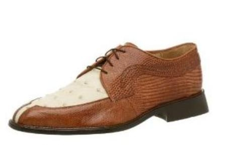 Belvedere Mens Luna Oxford Made of Lizard and Leather Brandy $349