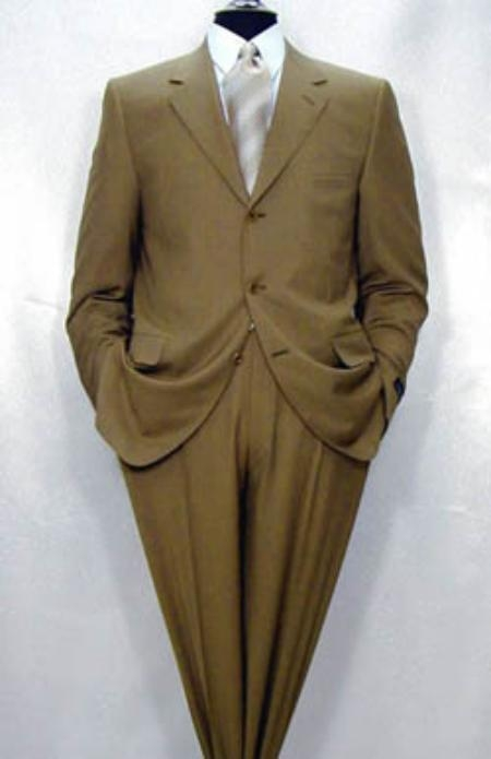 SKU# 276 Mens Luxurious High End UMO Collection  3 buttons Super 150s Wool Camel ~ Khaki premier quality italian fabric Suit $199