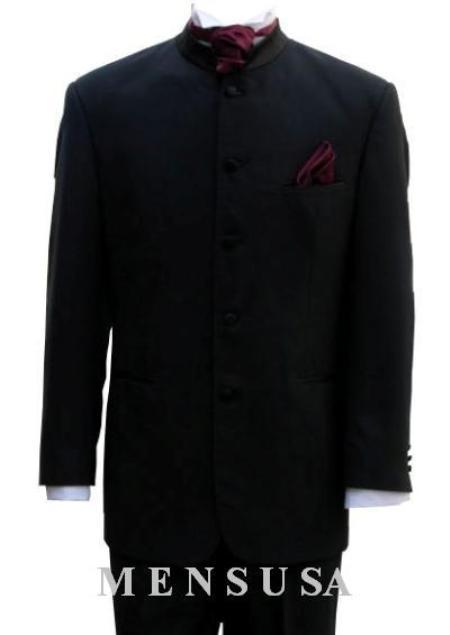 SKU#Ts51 Mens Mandarin Banded Nerue Nehru Collar 5 Button Oriantal Suit $179