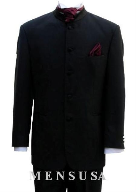 MensUSA.com Mens Mandarin Banded Nerue Nehru Collar 5 Button Oriantal Suit(Exchange only policy) at Sears.com