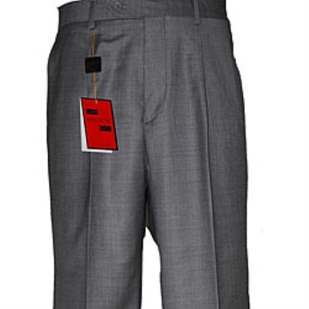 SKU#WH451 Men's Medium Gray Wool Single-pleat Pants