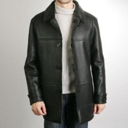 SKU#NA481 Mens Merino Shearling Walking Coat $1196