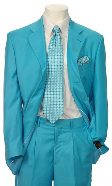 SKU#EMIL_C7 Mens Multi-Colored Suit Collection turquoise ~ Light Blue Colored $139