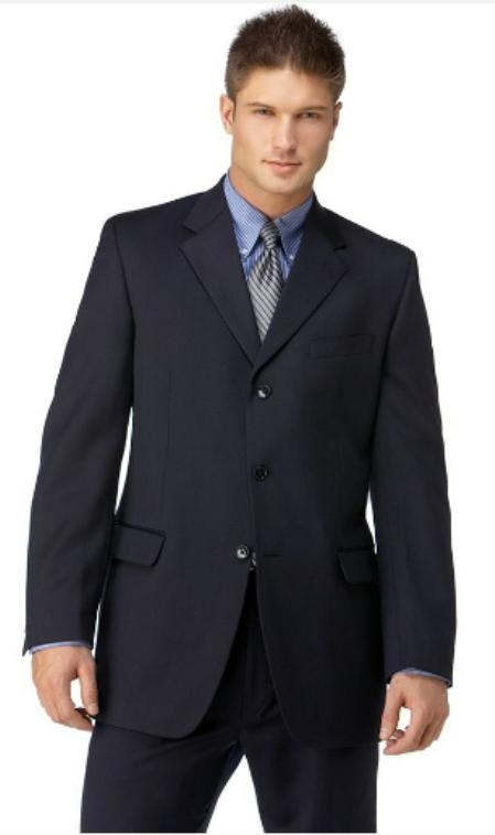 SKU#EL2901 Mens Navy 3 Button Polyester affordable suit online sale $99