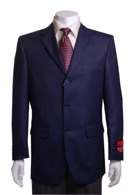 SKU#TH412 Mens Navy 3 buttons Waffle-weave Blazer $179