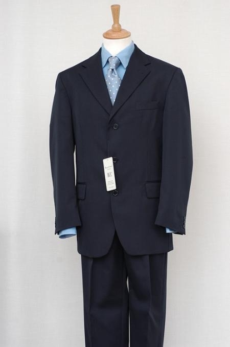SKU# FKK79  Mens Navy Blue Single Breasted Discount Discount Dress 2/3/4 Button Cheap Suit $79