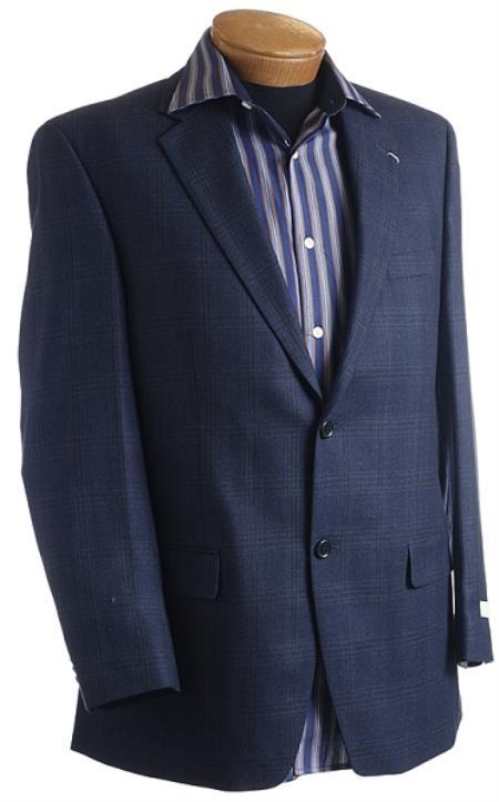 SKU#LZ3900 Mens Navy Designer Classic Window Pane Sports Jacket